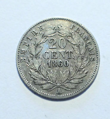 PIECE - 20 centimes 1860A NAPOLEON III ARGENT FRANCE (R2)