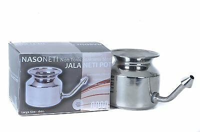 Stainless Steel Neti Pot for Sinus Congestion (Ayurvedic JalNeti) WS1