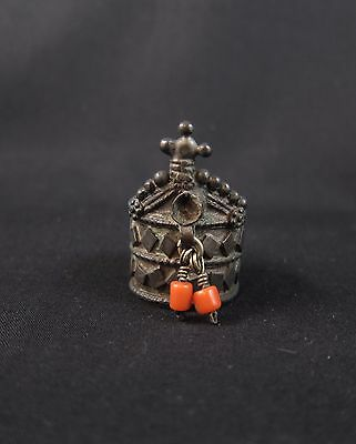 Antique Tibetan Buddhist silver finger ring with coral beads