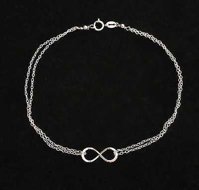 925 Sterling Silver ETERNITY INFINITY LOVE Symbol chain anklet or bracelet, 23cm