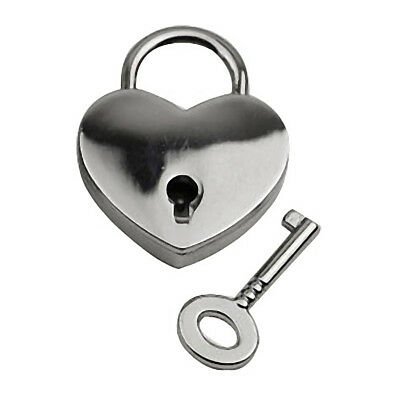 Mini Heart Shape Luggage Case Gym Locker Padlock w Key Silver Home Appliance
