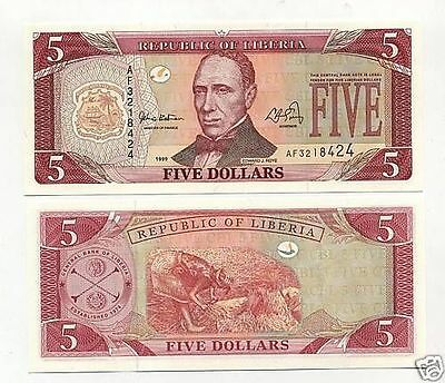 Liberia 5 Dollars 1999 Pick 21 UNC Uncirculated Banknote