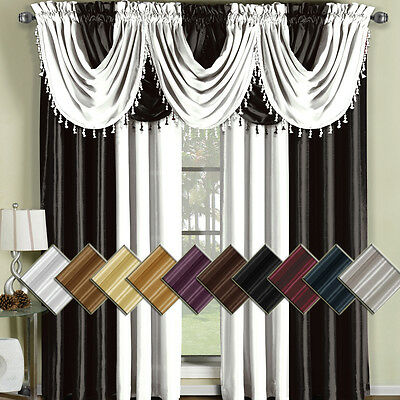 """Soho Faux Silk Window Treatment 42x108"""" Panel OR Waterfall Valace 100% Polyester"""