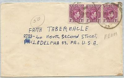 Nigeria 1951 KGVI cover from Abam PA  to Faith Tabernacle USA