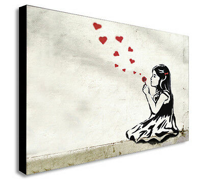 HE LOVES ME BANKSY - CANVAS WALL ART Picture Framed Print - Various Sizes