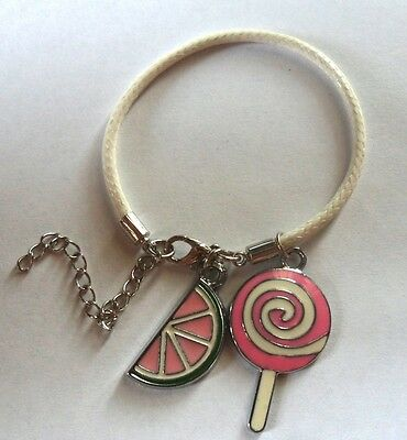 Girl Pink Lollipop Melon Faux Leather Lobster Clasp Charm Bracelet 5.5 - 7.5""