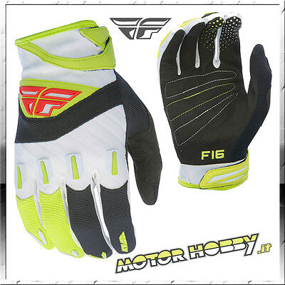 Guanti Off Road Cross Enduro Mtb Quad Fly F-16 Black Lime Taglia S