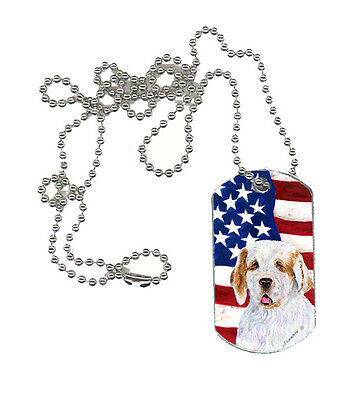 Carolines Treasures  SS4027DT USA American Flag with Clumber Spaniel  Dog Tag
