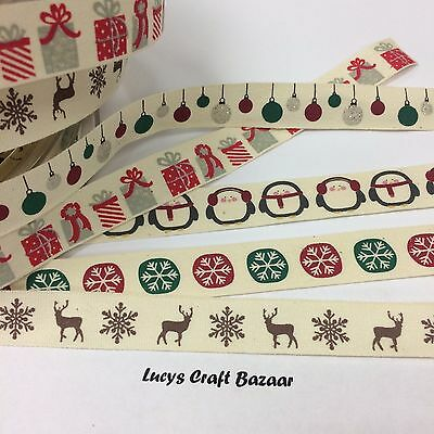 15mm Vintage Christmas Ribbon. Sold by the metre. Gift Bauble Reindeer Penguin