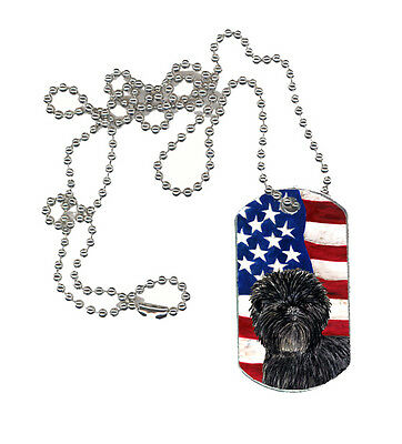 Carolines Treasures  SS4038DT USA American Flag with Affenpinscher  Dog Tag