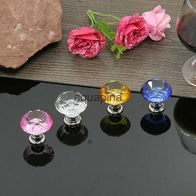 30mm Romantic Diamond Shape Crystal Glass Door Cupboard Drawer Handle Pull Knob