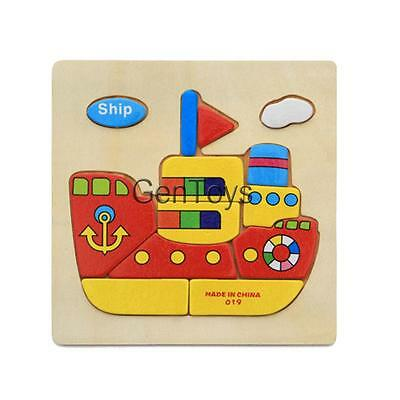 Wooden Cartoon Ship Puzzle Brain Teaser Toy Kids Baby Educational Toy Gift
