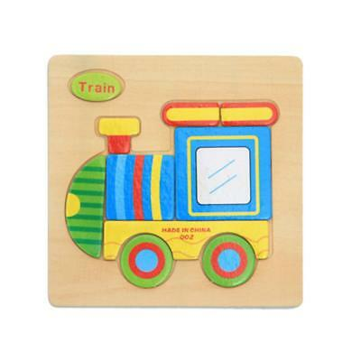 Wooden Cartoon Train Puzzle Brain Teaser Toy Kids Baby Educational Toy Gift