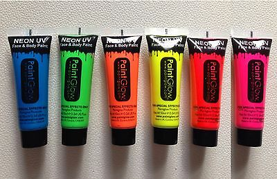 6 x Genuine PaintGlow UV FACE & BODY PAINT SET Fluorescent Neon Halloween Party