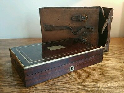 EARLY VICTORIAN DRAWING INSTRUMENTS IN SUPERB INLAID BOX + LEATHER CASE c1835