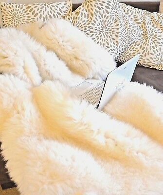 The BIGGEST Sheepskin Rug/ Beautiful / Genuine / Long/ Soft Fur+ Free Rug Brush