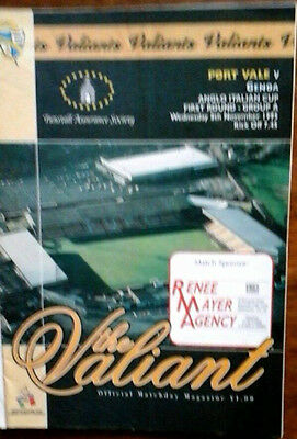 Port Vale V Genoa 8/11/1995 Anglo Italian Cup