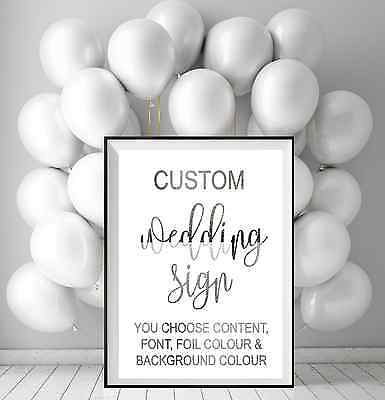 Custom Wedding Sign in pressed Silver Foil  / Your own wedding decor sign print