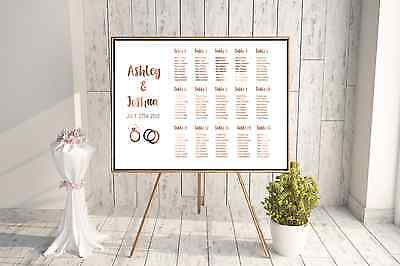 Copper Seating Chart / Custom wedding signage / cute personalised seating plan