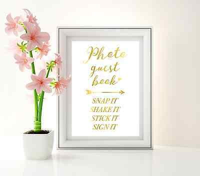 Photo guest book sign / gold foil wedding / Snap it shake it Polaroid signage