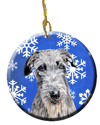 Scottish Deerhound Winter Snowflakes Ceramic Ornament
