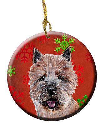 Norwich Terrier Red Snowflakes Holiday Ceramic Ornament