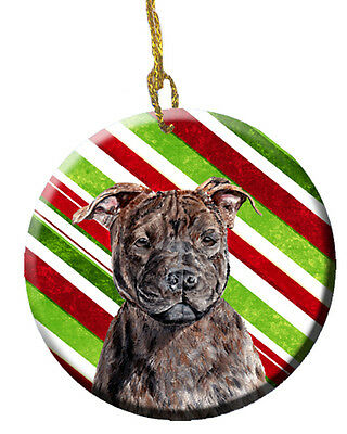 Staffordshire Bull Terrier Staffie Candy Cane Christmas Ceramic Ornament