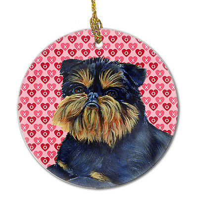Brussels Griffon Valentine's Love and Hearts Ceramic Ornament