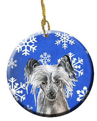 Chinese Crested Winter Snowflakes Ceramic Ornament