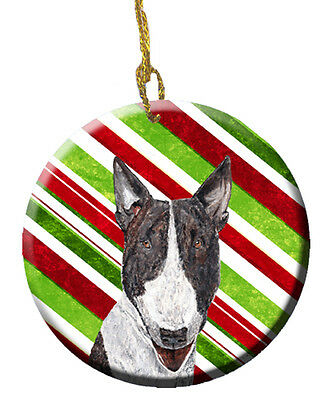 Bull Terrier Candy Cane Christmas Ceramic Ornament