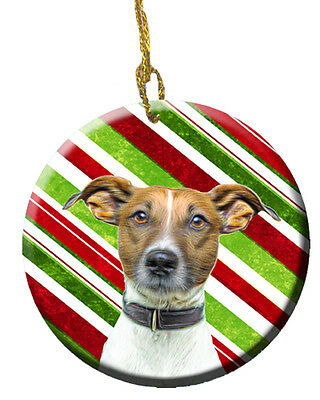 Candy Cane Holiday Christmas Jack Russell Terrier Ceramic Ornament