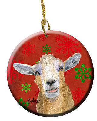 Goat Candy Cane Holiday Christmas Ceramic Ornament