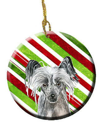 Chinese Crested Candy Cane Christmas Ceramic Ornament