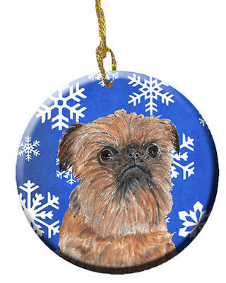 Brussels Griffon Winter Snowflakes Ceramic Ornament