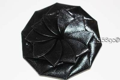 Gorgeous Black Leather Flower Coin Purse Wallet