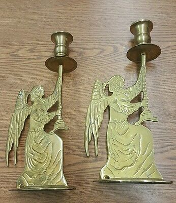 """Lot of 2 Pair Solid Brass Angel 11"""" Candlestick"""