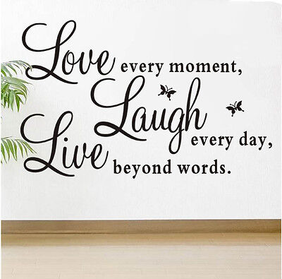 Love Every Moment Laugh Live Wall Sticker Decals Mural Home Decoration Hot