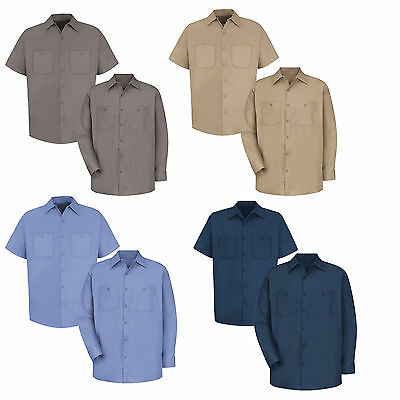 NEW! Red Kap Men Industrial 100% Cotton Work Shirt Navy/Light Blue/Gray/ Khaki