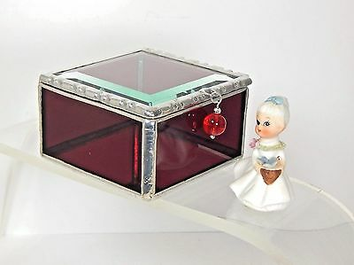 A Gorgeous Dark Ruby Red Stained Glass Jewelry Box With A Sparkling Beveled Lid