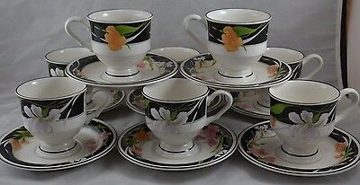 Sango Memories Set of 8 Footed Cups and Saucers