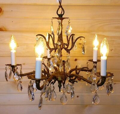 Vintage Spanish Brass & Crystal Chandelier c1950 French Italian Style 5 Tier