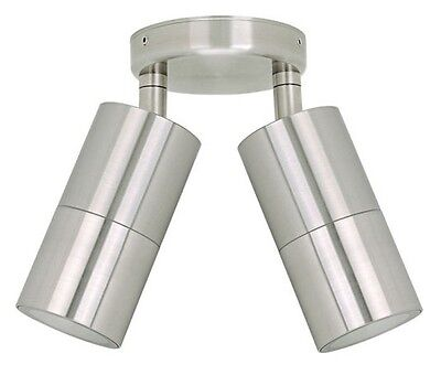 LED Double Adjustable Wall or Ceiling Light Outdoor Exterior Stainless Steel