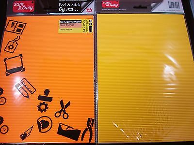 2 Packs Orange/Yellow Adhesive A4 Corrugated Paper Craft DIY FREE POSTAGE