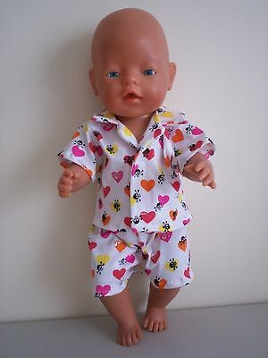 """Baby Born 17"""" Dolls Clothes Hearts And Skull Summer  Pj's"""