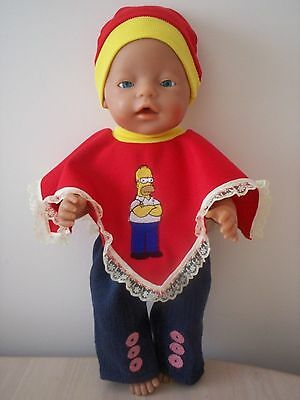 Baby Born Dolls Clothes Homar Simpson Poncho Outfit
