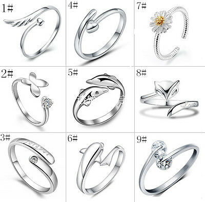 Wholesale Women's Girl 925 Sterling Silver Rings Fashion Jewelry 9 Style