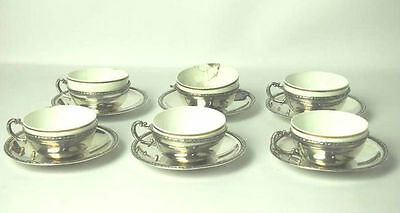 6 Cups Of Coffee. Sterling Silver And Porcelain. Buxeda. Spain. 20-30 Years