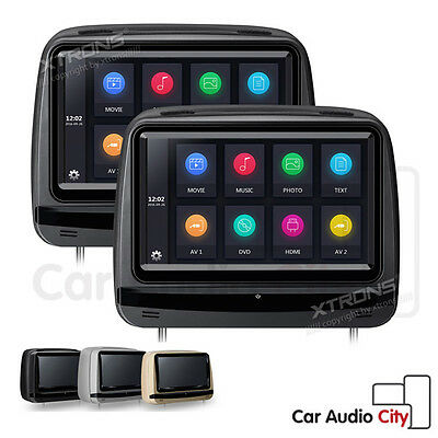 """UK 2x 9"""" Digital Touch Screen In Car Headrest Monitor DVD Player Game HDMI USB"""