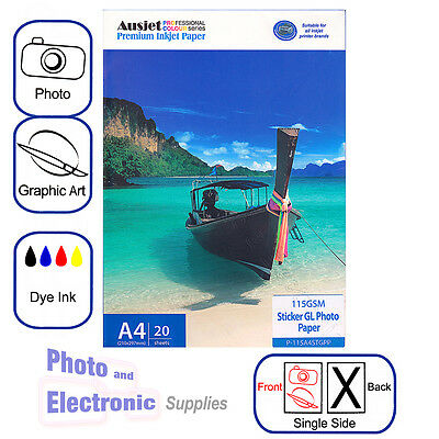 A4 Glossy Sticker Photo Paper 115gsm for Dye-based Inkjet (20 Sheets), adhesive