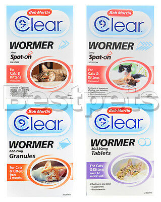 Bob Martin Clear Cat & Kitten Dewormer Tubes Tablets Worming Spot on Treatment